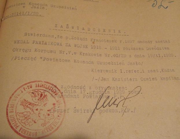 F. Zoladz - medal